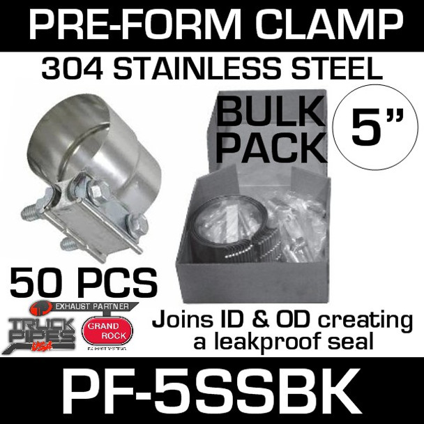 "5"" Preformed Stainless Steel Exhaust Clamp 50 Pc Bulk Pack PF-5SSBK"