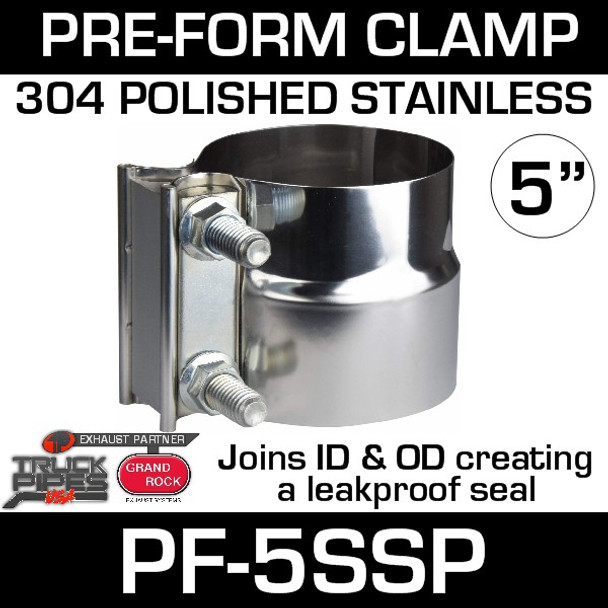 """5"""" Preformed Polished Stainless Steel Exhaust Seal Clamp PF-5SSP"""
