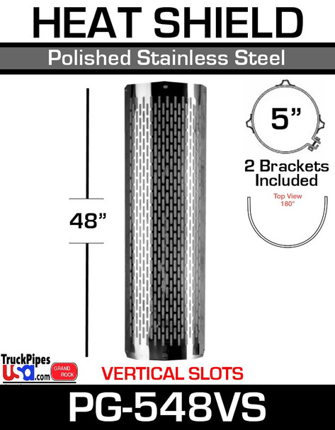 """5"""" x 48"""" Heat Shield Vertical Slots Polished SS with 2 brackets PG-548VS"""
