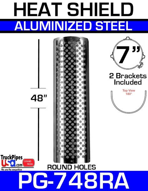 """7"""" x 48"""" Heat Shield Round Holes Aluminized with 2 brackets PG-748RA"""