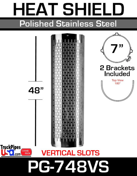 """7"""" x 48"""" Heat Shield Vertical Slots Polished SS with 2 brackets PG-748VS"""