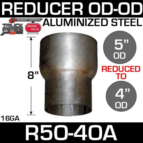 "R5O-4OA 5"" OD to 4"" OD Exhaust Reducer Aluminized Pipe"