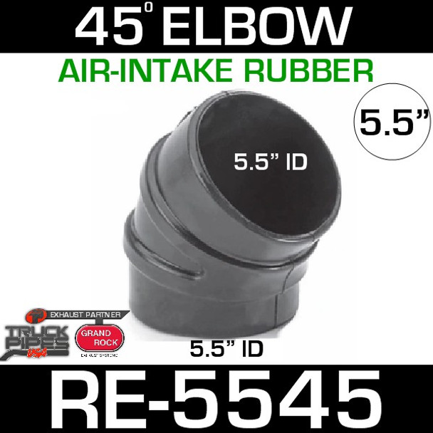 """5.5"""" Air Intake Rubber 45 Degree Elbow RE-5545"""