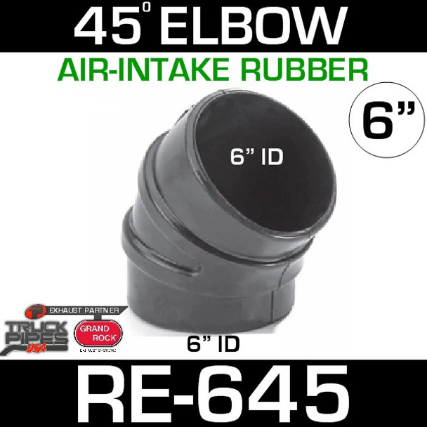 """6"""" Air Intake Rubber 45 Degree Elbow RE-645"""