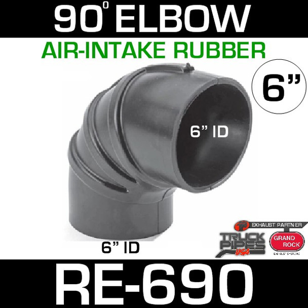 """6"""" Air Intake Rubber 90 Degree Elbow RE-690"""