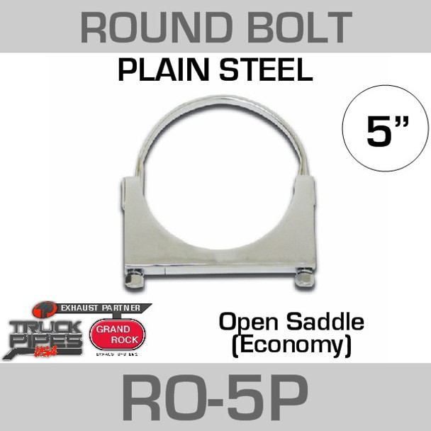 "5"" Round Bolt Open Saddle Exhaust Clamp RO-5P"