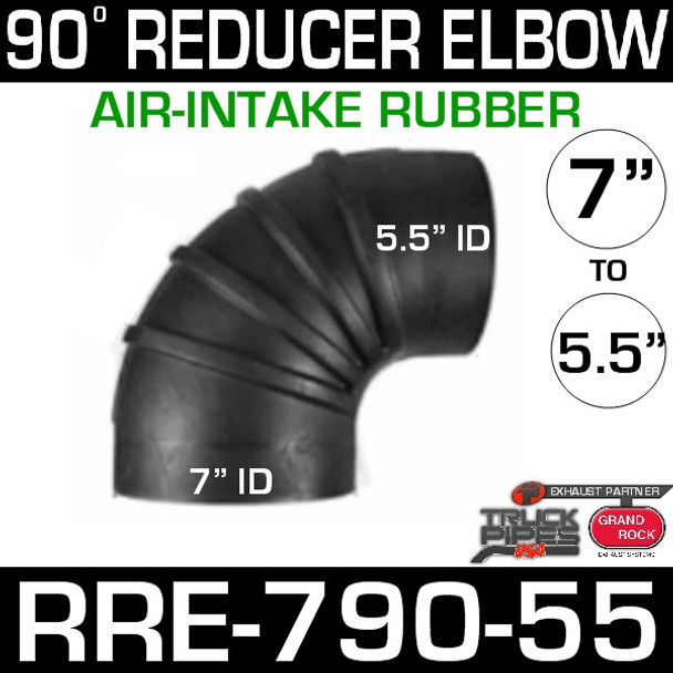 """7"""" to 5.5"""" 90 Degree Reducer Air Intake Rubber Exhaust Elbow"""