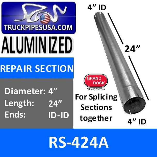 4 inch x 24 inch Aluminized Exhaust Repair Section ID-ID