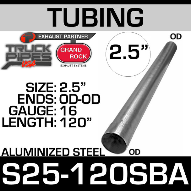 "2.5"" x 120"" Straight Cut Aluminized Exhaust Tubing S25-120SBA"