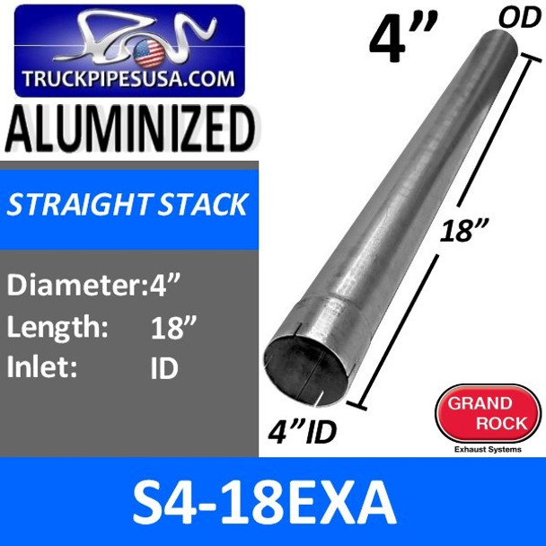 "4"" x 18"" Straight Cut Aluminized Exhaust Stack ID End S4-18EXA"