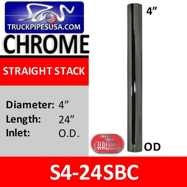 S4-24SBC 4 inch x 24 inch Straight Cut Chrome Exhaust Tube OD Ends