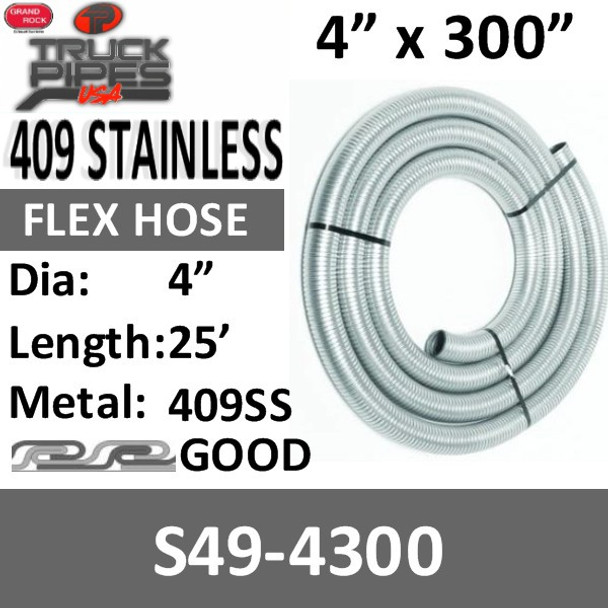 """4"""" x 25' 409 Stainless Steel Flex Exhaust Hose S49-4300"""