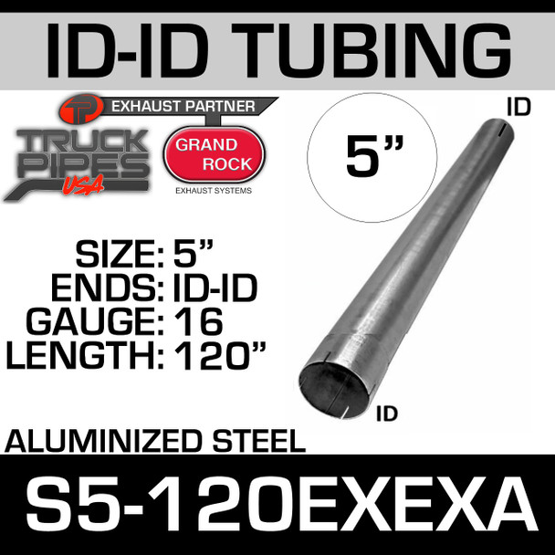 """5"""" X 120"""" Straight Cut Aluminized Exhaust Stack ID Ends S5-120EXEXA"""