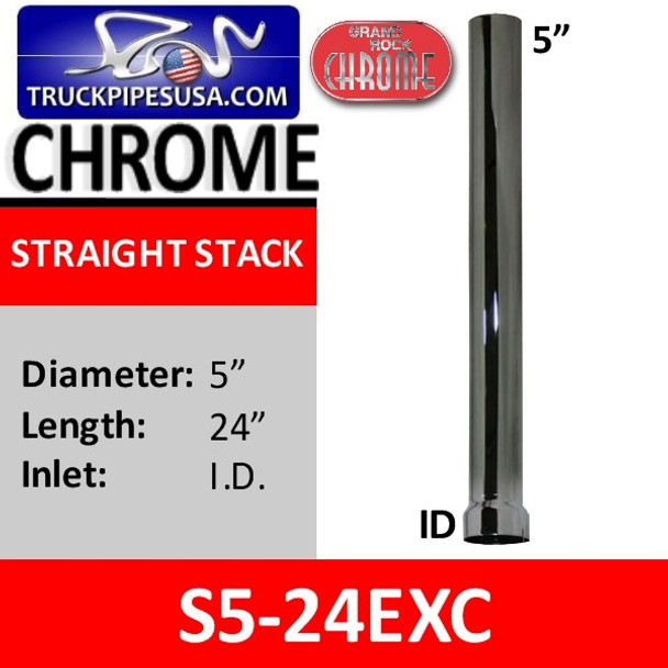 5 inch x 24 inch Straight Cut Chrome Exhaust Stack ID End