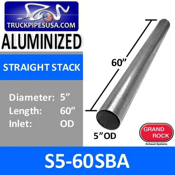 """5"""" x 60"""" Straight Cut Aluminized Exhaust Stack OD Ends S5-60SBA"""