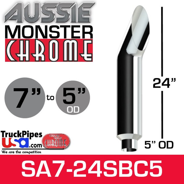 """7"""" x 24"""" Aussie Chrome Monster Stack Reduced to 5"""" OD"""