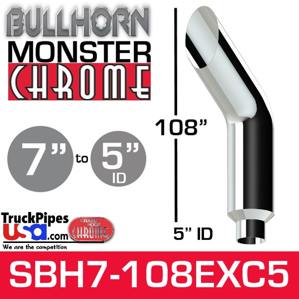 """7"""" x 108"""" Bullhorn Chrome Monster Stack Reduced to 5"""" ID"""