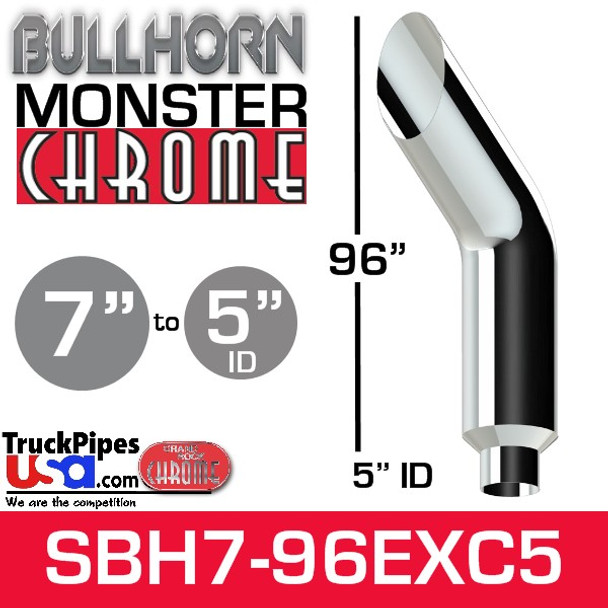 """7"""" x 96"""" Bullhorn Chrome Monster Stack Reduced to 5"""" ID"""