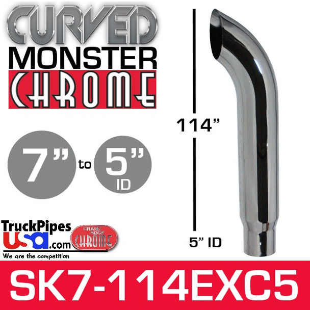 """7"""" x 114"""" Curved Top Monster Chrome Stack Reduced to 5"""" ID"""