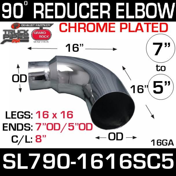 """7"""" OD 90 Degree 16"""" x 16"""" Reduced to 5"""" OD Chrome SL790-1616SC-5"""