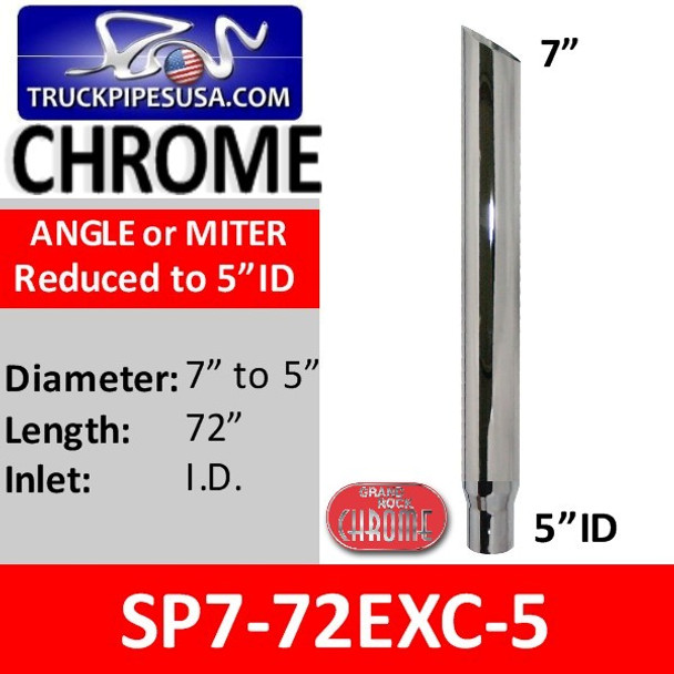 """7"""" x 72"""" Miter Cut Chrome Stack Reduced to 5"""" ID SP7-72EXC-5"""