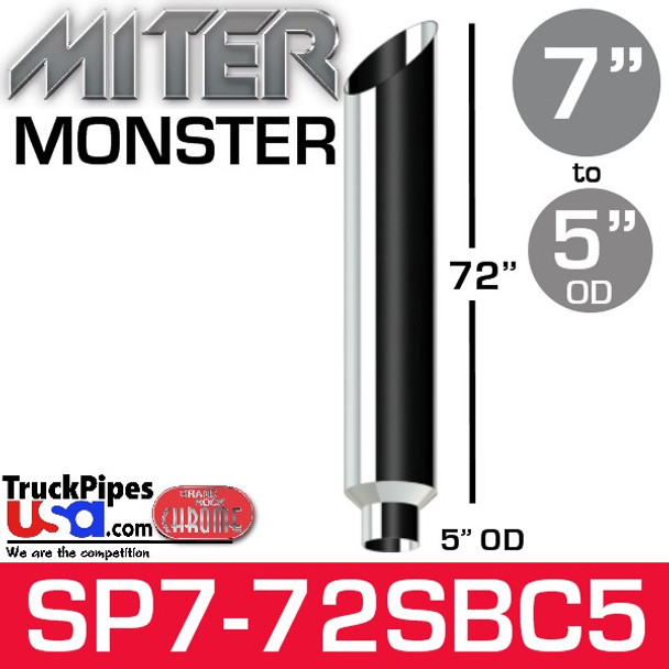 """7"""" x 72"""" Miter Cut Chrome Monster Stack Reduced to 5"""" OD"""