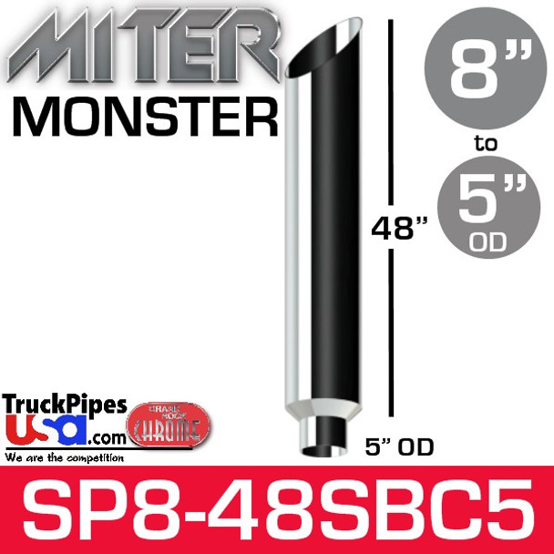 """8"""" x 48"""" Miter Cut Chrome Monster Stack Reduced to 5"""" OD"""