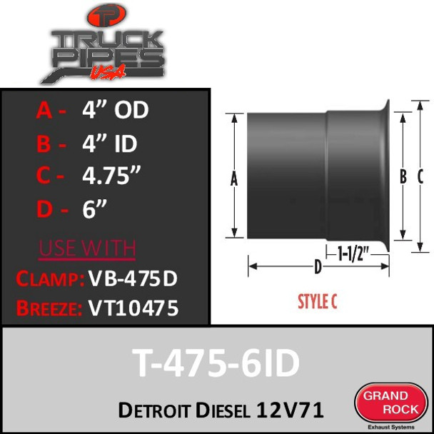 "T475-6ID Turbo 4"" Detroit Diesel 12V71 Turbo Flange Style C"