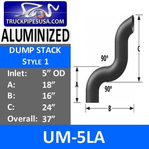 """5"""" OD Aluminized Dump Truck Pipe A-18 B-16 C-24 OVERALL 37"""" UM-5LA"""