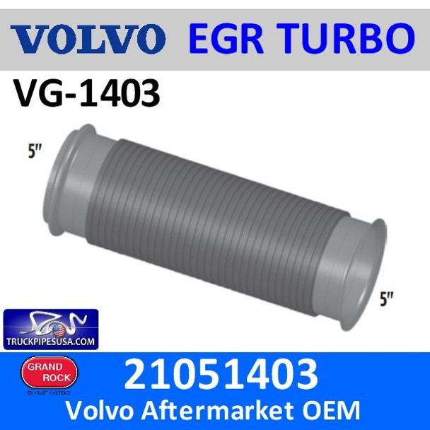 """21051403 Volvo Bellows EGR 12.25"""" Exhaust Pipe VG-1403"""