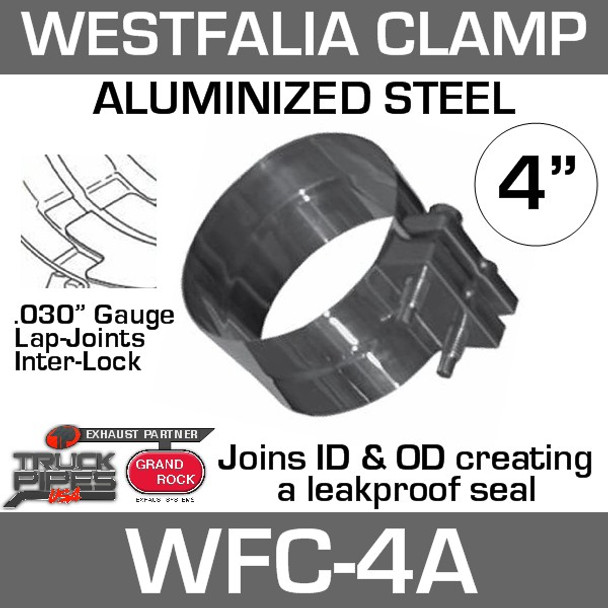 "4"" Westfalia Aluminized Exhaust Band Clamp WFC-4A"