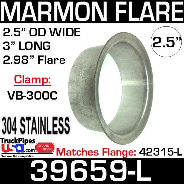 """2.5"""" Marmon Exhaust 2.98"""" Flare 304 Stainless Steel 39659-L"""