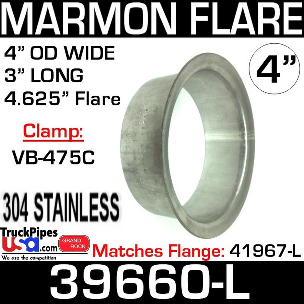 """4"""" Marmon Exhaust 4.625"""" Flare 304 Stainless Steel 39660-L"""