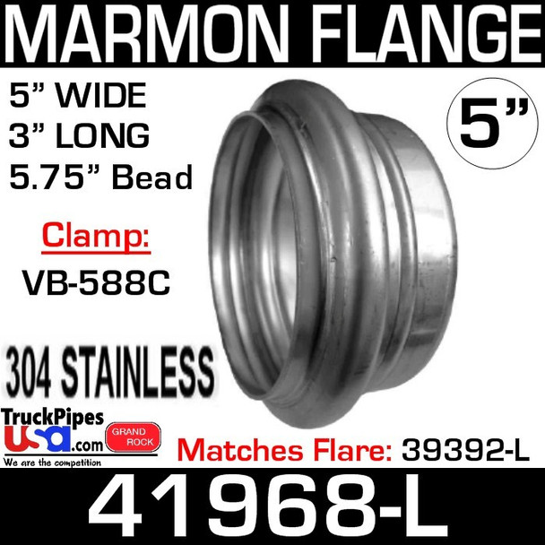 "5"" Marmon Flange 5.756 Bead 304 Stainless Steel 41968-L"