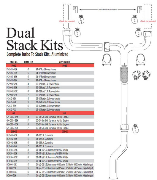 "2004-2006 Dodge 5.9L 600 Series 5"" Dual Stack Kit"