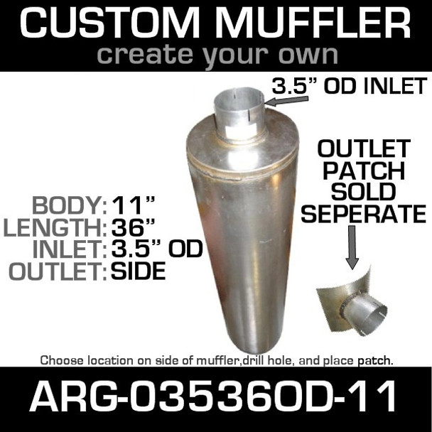 """11"""" Universal Muffler 3.5"""" OD End In and Out Muffler ARG-03536-11OD"""