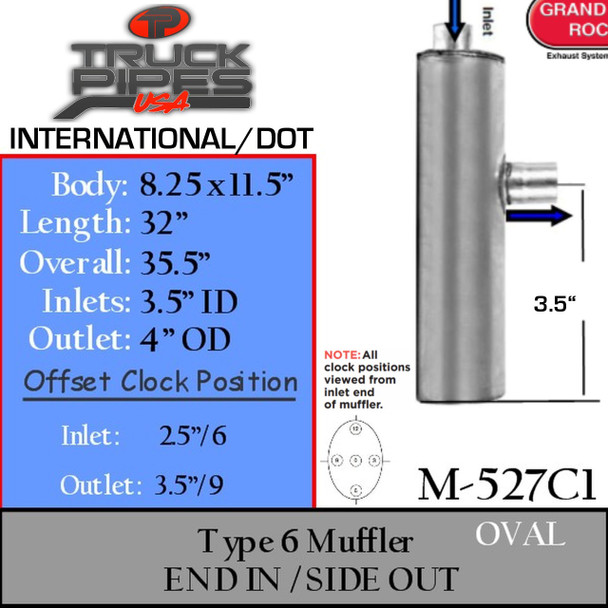 """M-527C1 Type 6 Muffler 8.25 """" x 11.5"""" x 32.5 - 3.5"""" IN 4"""" OD OUT"""