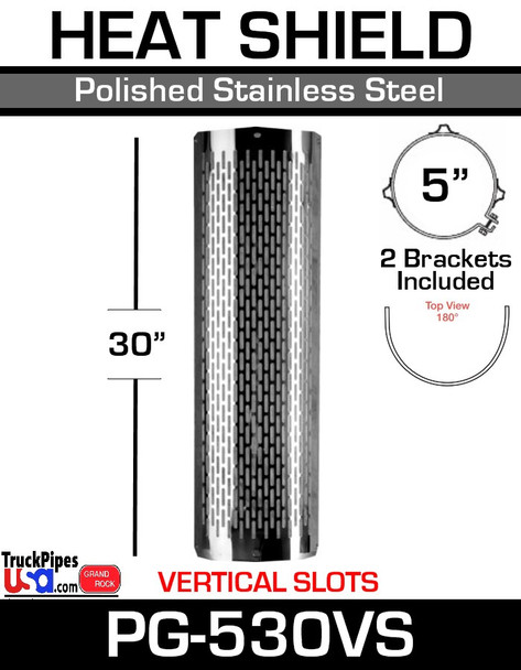"""5"""" x 30 Heat Shield Vertical Slot Polished SS with Brackets PG-530VS"""