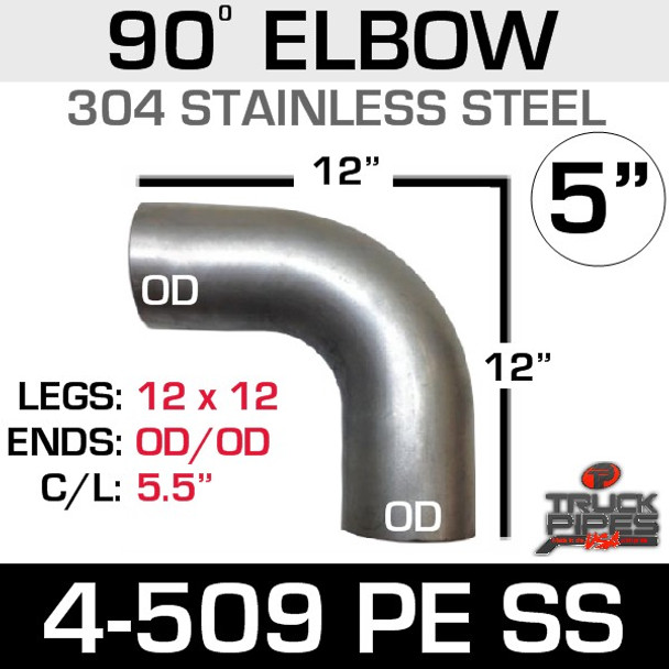 """5"""" 90 Degree Elbow 12.5"""" x 12.5"""" OD-OD 304 Stainless Steel 4-509PE SS"""