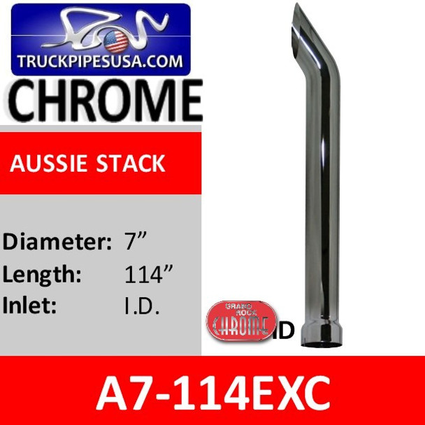 "7"" x 114"" Aussie Cut Chrome exhaust stack pipe A7-114EXC"