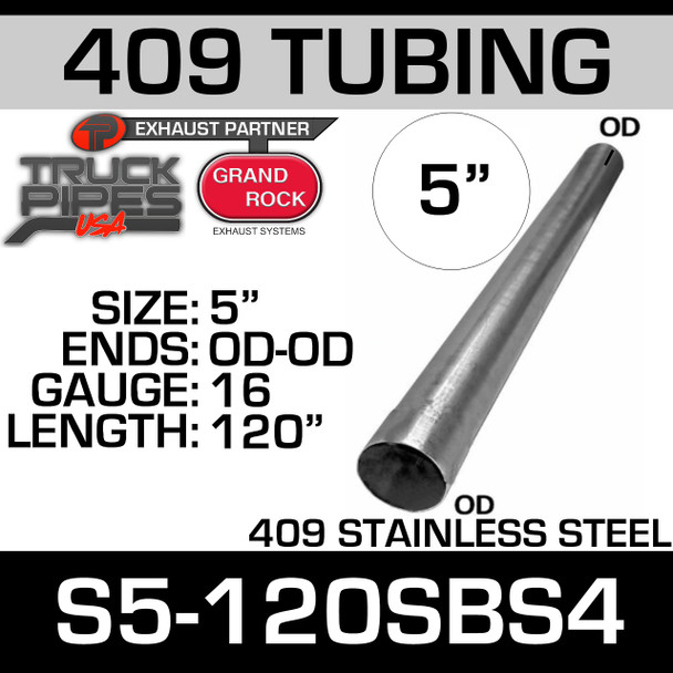 """5"""" x 120"""" Straight Cut 409 Stainless Steel Coated 16 Gauge Tubing"""