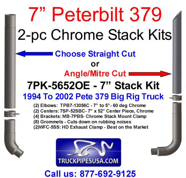 """7"""" Peterbilt 379 Chrome Stack Kit - Choose Mitre or Straight Cut (7PK-5652OE)"""
