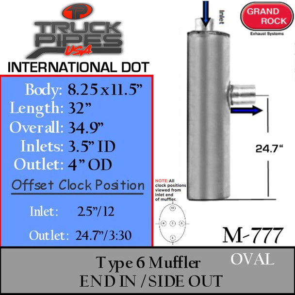 """M-777 Type 6 Oval Muffler 8.25"""" x 11.5"""" x 32"""" Long 3.5"""" IN - 4"""" OD OUT"""