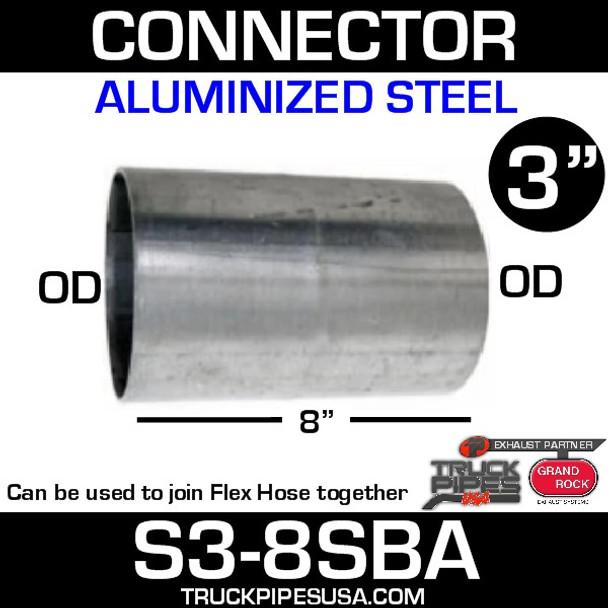 """3"""" x 8"""" Aluminized Exhaust Connector OD-OD S3-8SBA"""
