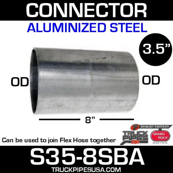 """3.5"""" x 8"""" Aluminized Exhaust Connector OD-OD S35-8SBA"""