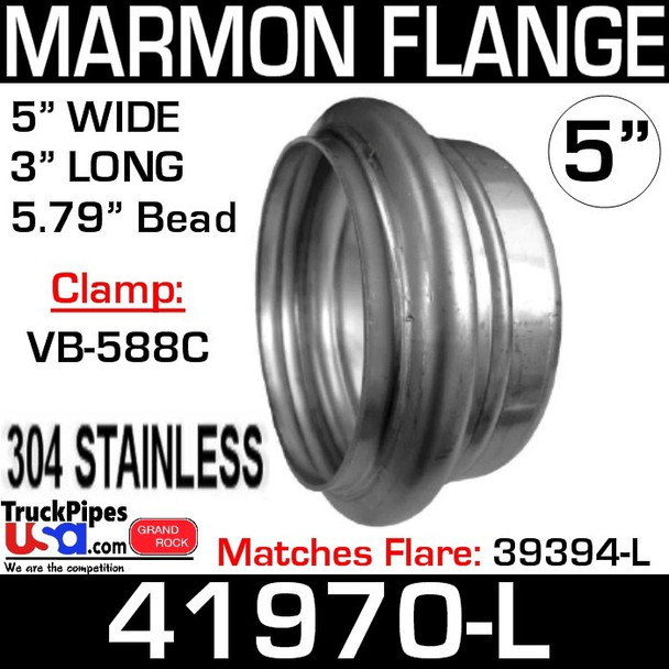 """5"""" Marmon Flange 5.79 Bead 304 Stainless Steel 41970-L"""