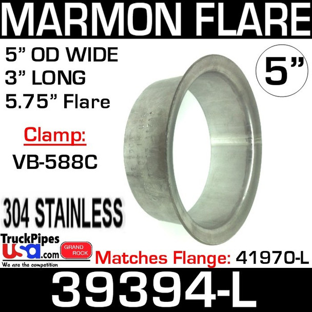 """5"""" Marmon Exhaust with 5.75"""" Flare 304 Stainless Steel 39394-L"""