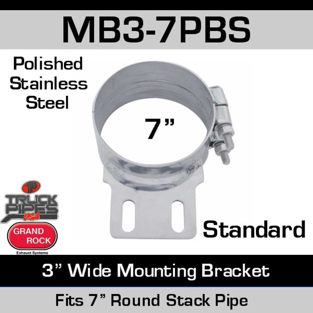 """7"""" Stack Mounting Bracket 3"""" Wide Polished SS MB3-7PBS"""