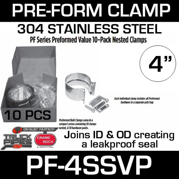 """4"""" Preformed Stainless Steel Exhaust Clamp 10 Pc Pack PF-4SSVP"""