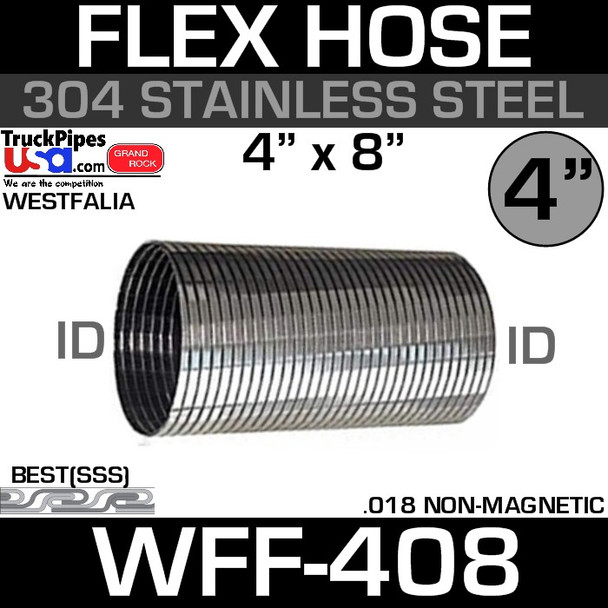 "4"" x 8"" Westfalia 304 Stainless Steel Triple-S Exhaust Flex WFF-408"